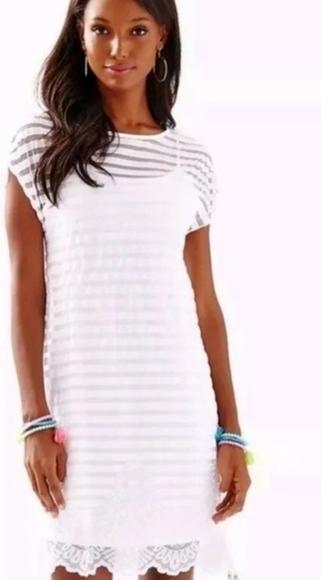 Lily Pulitzer Dress Adria Resort White Mesh